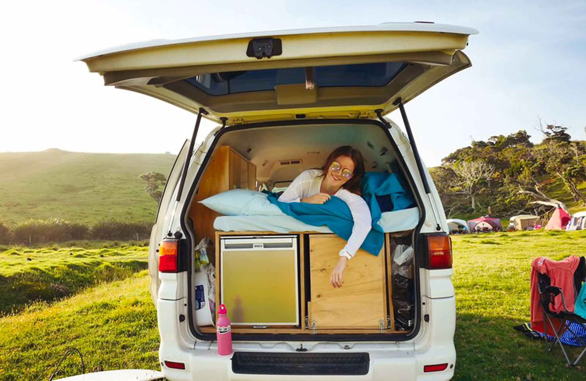 girl in campervan in new zealand during her studies in new zealand