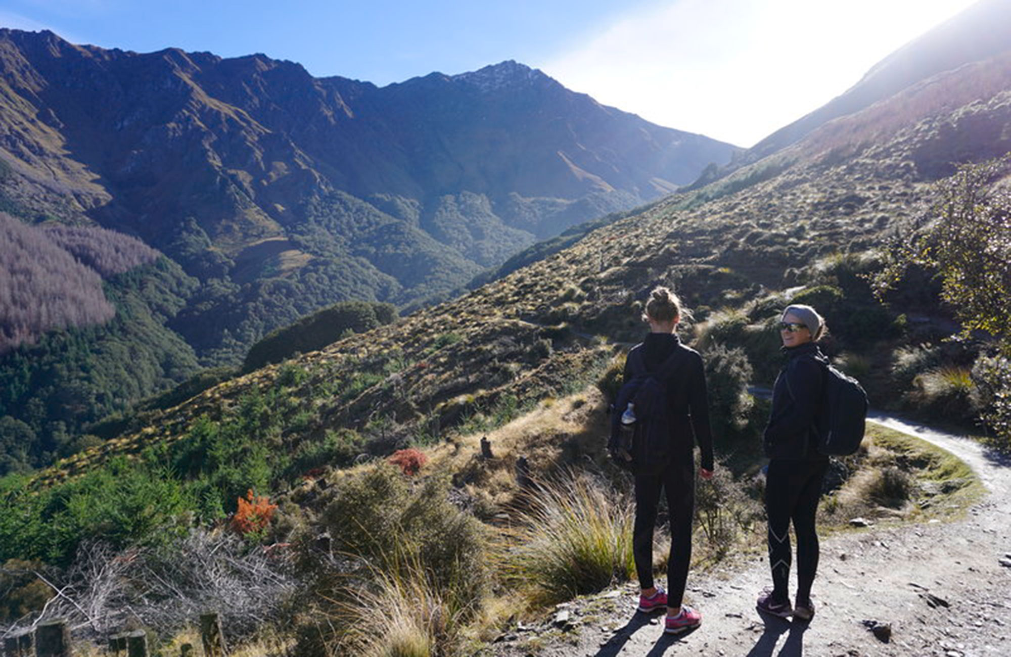 Celine trekking in New Zealand